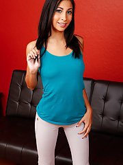 Petite brunette Jade Jantzen unzipping pants to remove teen panties