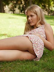 Playful blonde cutie Nola Barry showing us her super hot panties