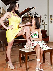 Brunette whores Adriana Chechik and Kendra Lust posing in high heels