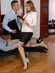 Horny office babe Sabrina Moore taking cock in cunt and ass at same time