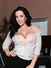 Tall and busty secretary Jayden Jaymes getting undressed in her office