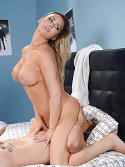 Busty blond MILF Abbey Brooks covers cock in whip cream before giving bj