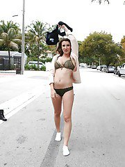 Latina babe Sophia Grace strips in public and flashes tits on street