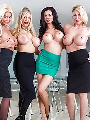 Busty secretaries Jasmine Jae Leigh Darby and friends flashing hooters