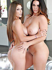 Busty pornostars Alison Tyler and Dillion Carter undress each others tits