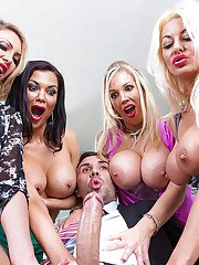 Buxom broads reverse gangbang a big dick with cum swapping finish