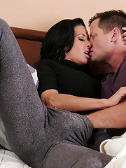 Older babe Veronica Avluv slurps big dick and balls before riding cock