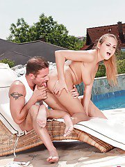 Busty teen chick Susan having shaved pussy fingered by boyfriend outdoors
