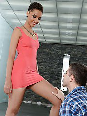 Tall ebony babe Halona Vouge being disrobed by white male admirer