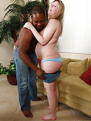 Amateur BBW Shay is stripped naked to facilitate her fellatio skills
