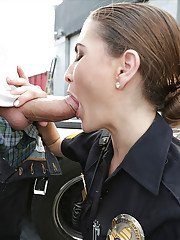 Police officer Molly Jane giving blowjob outdoors and taking cum in mouth