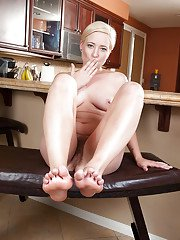 Short haired blonde Nora Skyy getting penetrated in her hairy pussy