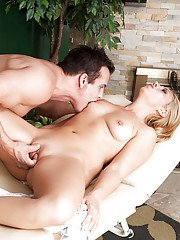 Hot blonde mature Stevie Nix getting a massage that involves fingering