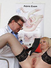 Older blonde lady Nelly having mature pussy examined by naughty doctor