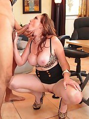 Busty boss woman Jessica Rayne sucks her employees big dick at work