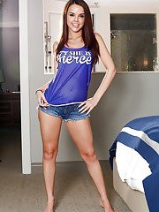Young babe Dillion Carter posing in short denim shorts and bare feet