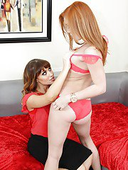 Lesbian bombshells Alex Tanner and Jessica Ryan licking each other