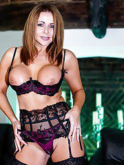 Big tit brunette MILF Carly G showing off her curves in hot lingerie