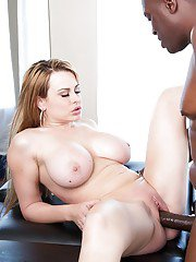 Busty babe Corinna Blake spreads legs for big black cock pounding
