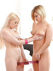 Blond Euro dykes Lola Taylor and Angel Black use strapons to satisfy cunts