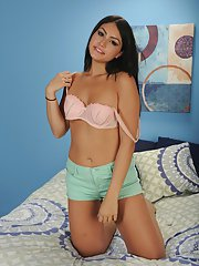 First time Latina teenager Kylie Sinner baring shaved cooter for close ups