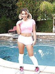 Horny Latina brunette Liv Aguilera spreading her pussy poolside