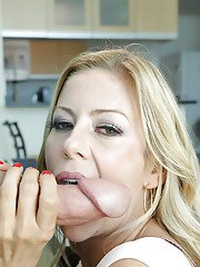 Blonde housewife Alexis Fawx taking big dick on pink tongue on her knees
