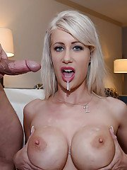 Busty blonde slut Riley Jenner opens filthy mouth wide for face fucking