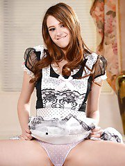 Naughty maid Elektra Rose poses for non nude photos in uniform