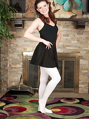 First timer Alison Rey posing in white dancers stockings and dress