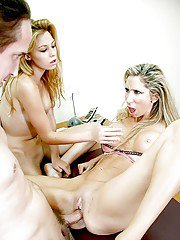 Blonde pregger and girlfriend give boss man a blowjob in his office