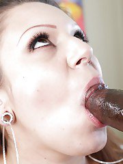 Busty Latina Tori Avano taking a huge black cock in mouth for chipmunking