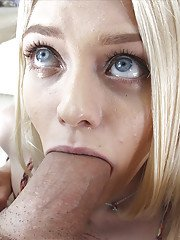 Barley legal blonde hottie Alli Rae taking big cock in mouth for POV bj