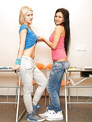 Hot young girl Keira and her just ass hot gf explore joys of lesbian sex