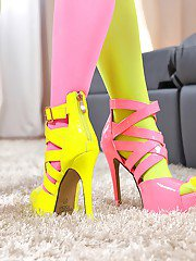 Lesbian foot lovers Dominica Phoenix and Sicilia enjoy each others nylons