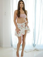 Busty big boob babe Dillion Carter flaunting nice melons for solo shoot