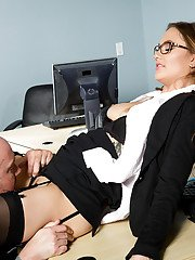Office secretary Samantha Hayes having trimmed twat licked out at work