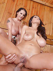 Buxom MILFs Laura Orsolya and Susana Alcalue using big knockers to rub cock
