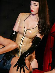 European lesbians in latex gloves and high heels use sex toys on wet twats