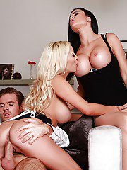 Lovely Sienna Day and Jasmine Jae get a monster white cock to share