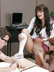 Nerdy teen girl in glasses being shown how to suck cock by her mom