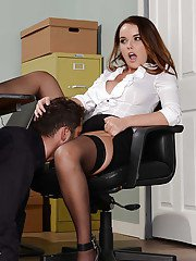 Cute secretary Dillion Harper receiving cunnilingus under desk