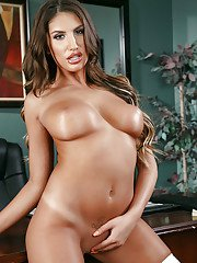 Latina teacher August Ames posing on office desk in white stockings