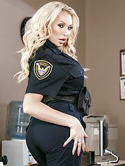 Curvy blonde Summer Brielle modelling solo in police uniform