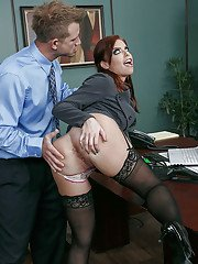 Big breasted boss lady Britney Amber having her ass slapped by co-worker