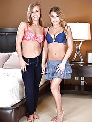 Cute chicks April Brookes and Kendall Kayden remove each others clothing