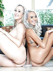 Latina lesbians Brandi Love and Janice Griffith strip naked together