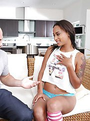 Beautiful ebony wife flashing underboobage and giving hubby blowjob