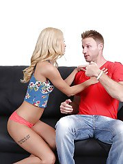 Blonde stripper Uma Jolie working the pole for casting couch debut