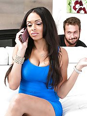 Buxom ebony babe Bethany Benz having big fun bags played with by white man